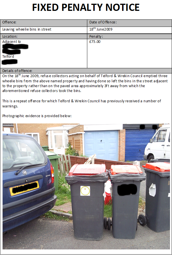 Fixed Penalty Notice to Telford & Wrekin Council for leaving wheelie bins in the road