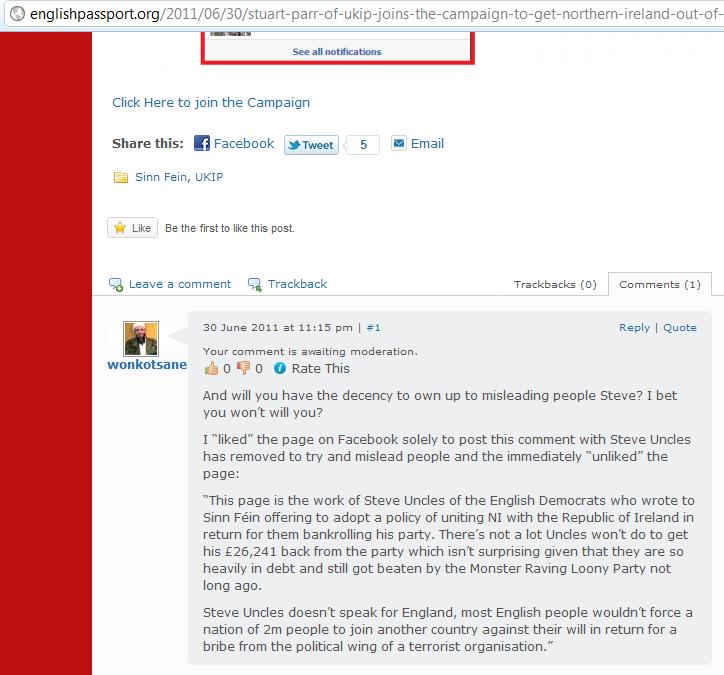 Comment Pending on English Passport libel