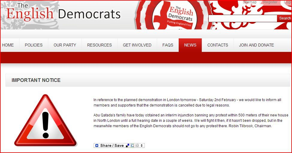 English Democrats website warning not to attend Abu Qatada protest